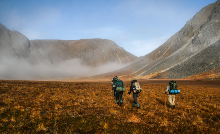 Four backpackers disappear into autumn mist in the heart of Alaska's Talkeetna Mountain Range