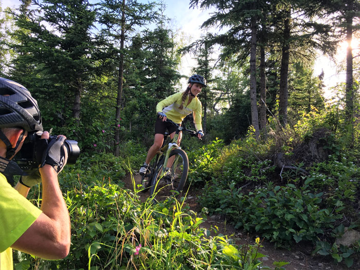 Behind the scenes with Matt on a mountain biking clothing shoot.
